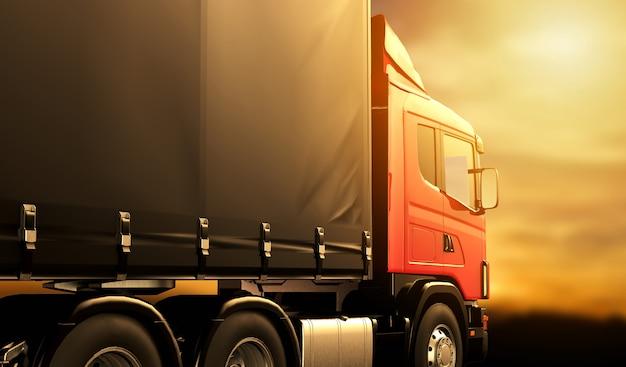 Czerwona ciężarówka przy zmierzchem Premium Zdjęcia