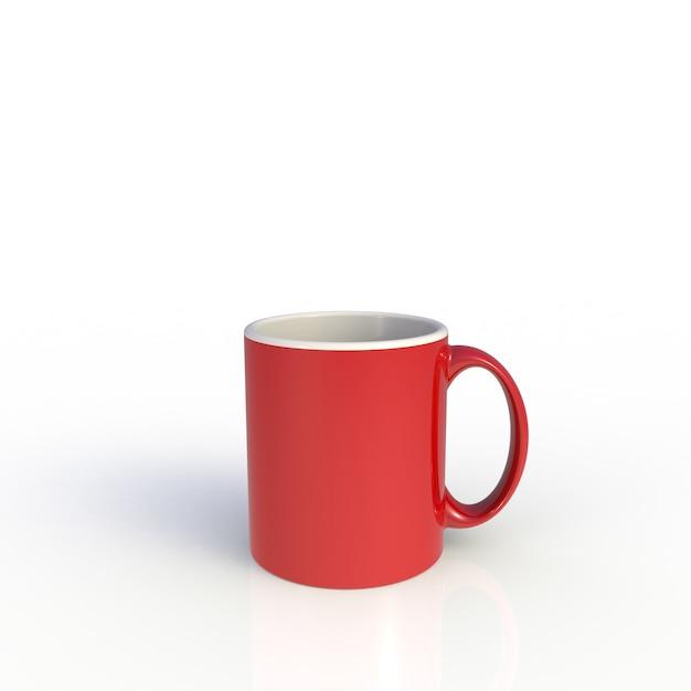 Czerwona Filiżanka Na Bielu Premium Zdjęcia