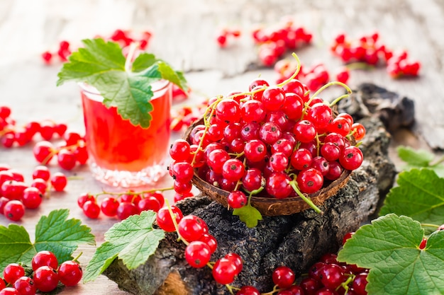 Czerwona porzeczka w misce na korze drzewa i szklance wrzącego napoju z czerwonej porzeczki Premium Zdjęcia