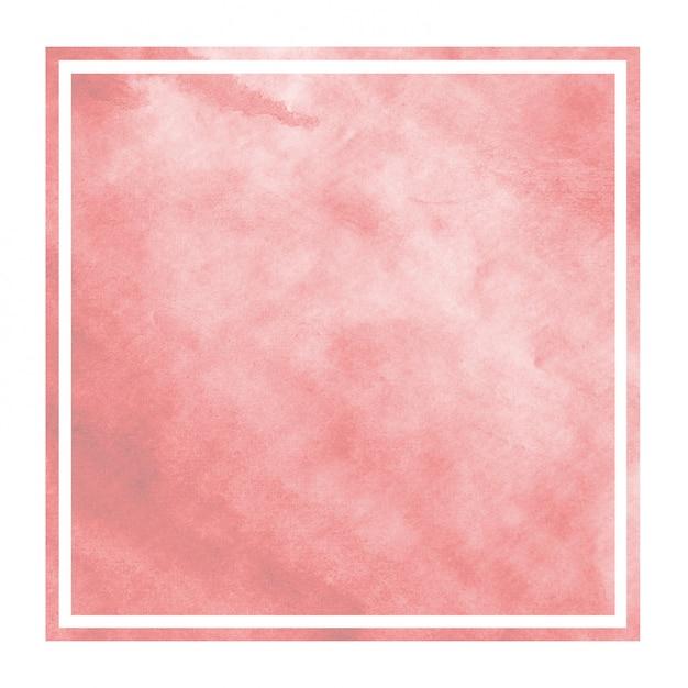 Czerwona ręka rysująca akwareli prostokątna ramowa tło tekstura z plamami Premium Zdjęcia