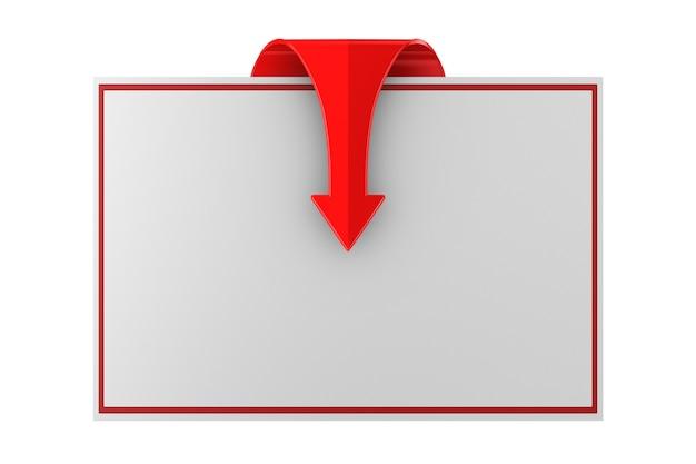 Czerwona Strzałka I Baner Na Białej Przestrzeni. Ilustracja Na Białym Tle 3d Premium Zdjęcia