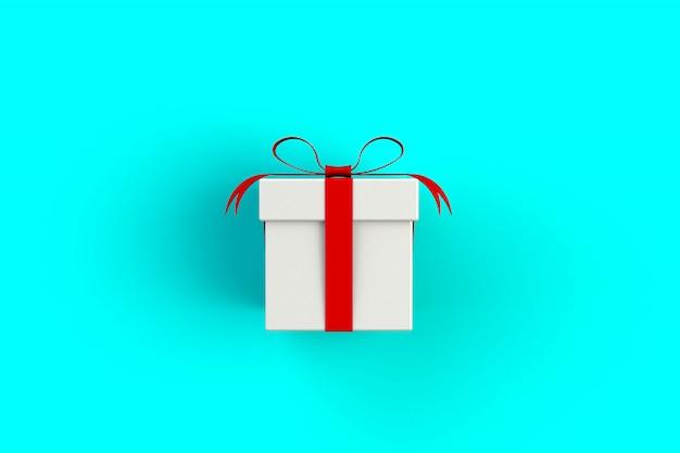 Czerwone Białe Pudełko Na Niebiesko Premium Zdjęcia