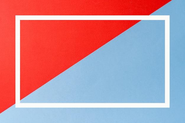 Czerwone I Niebieskie Kolory Streszczenie Tło Z Geometrycznym Kształcie I Kwadratową Ramką. Premium Zdjęcia