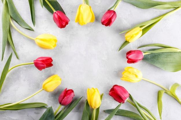 Czerwone I żółte Kwiaty Tulipanów Premium Zdjęcia