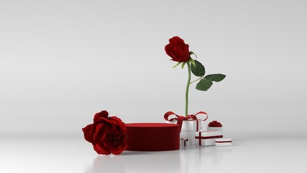 Czerwone Podium Do Lokowania Produktu Ozdobione Różą Premium Zdjęcia