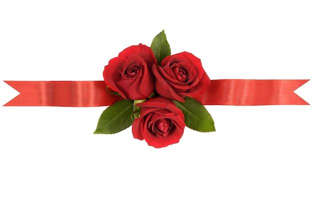 Czerwone róże wstążka banner Darmowe Zdjęcia