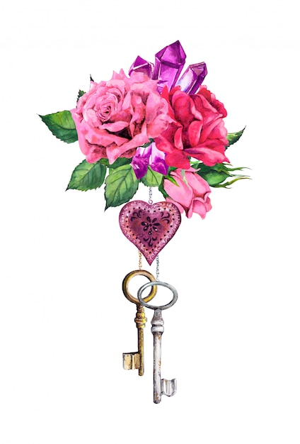 Czerwone, Różowe Róże Z Sercem, Dwa Klucze, Pióra, Kryształowy Kamień. Romantyczny Bukiet Akwarela Na Walentynki, Wesele Premium Zdjęcia