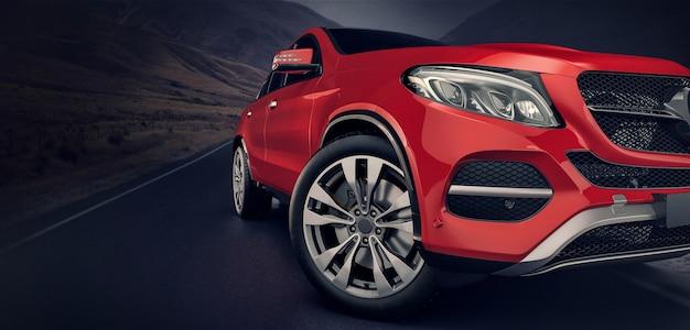 Czerwone Samochody Z Przodu, Poruszające Się Po Drodze. Premium Zdjęcia