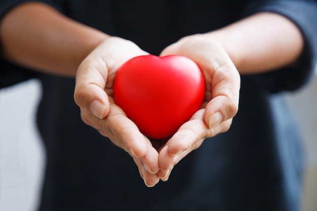 Czerwone Serce Trzymane Przez Obie Dłonie Kobiety, Przedstawia Pomocne Dłonie, Troskę, Miłość, Współczucie Premium Zdjęcia