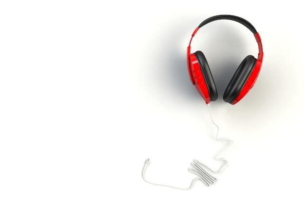 Czerwone Słuchawki Na Białym Tle Premium Zdjęcia
