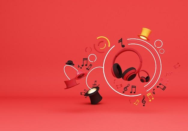 Czerwone Słuchawki Z Nutą Muzyki I Kolorowe Kapelusze Na Czerwonym Tle Renderowania 3d Premium Zdjęcia