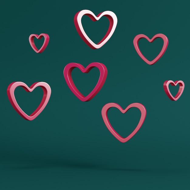 Czerwony Abstrakcyjny Kształt Serca Na Cokole Z Ramką Koła Na Ciemnozielonym Premium Zdjęcia