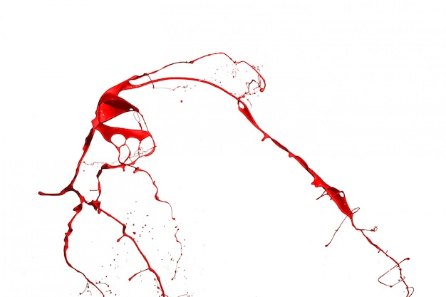 Czerwony Farby Pluśnięcie Odizolowywający Na Białym Tle. Premium Zdjęcia