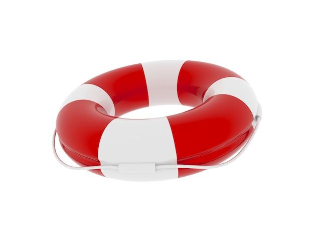 Czerwony I Biały Kolor Koło Ratunkowe Na Białym Tle Premium Zdjęcia
