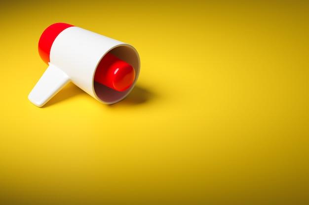 Czerwony I Biały Kreskówka Głośnik Na żółtym Monochromatycznym Tle. 3d Ilustracja Megafon. Symbol Reklamy, Koncepcja Promocji. Premium Zdjęcia