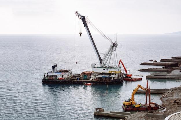 Czerwony I Biały żuraw Morski Na Morzu W Pochmurną Pogodę Premium Zdjęcia