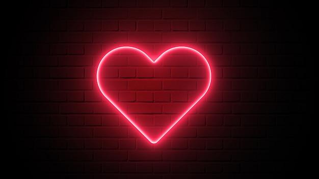Czerwony Kierowy Kształta Neonowy światło Na Zmrok ściany Tle. Koncepcja Abstrakcyjna I Dekoracji. Szczęśliwy Element Walentynki Premium Zdjęcia