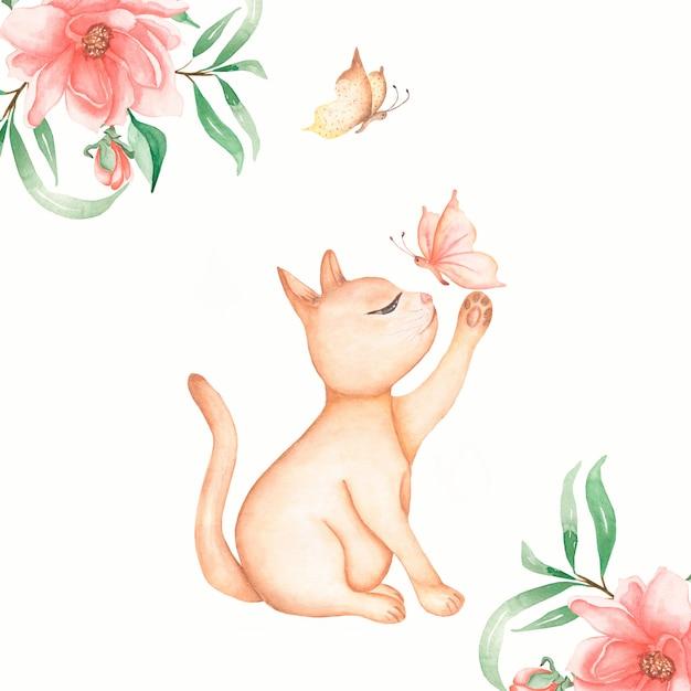 Czerwony Kot Siedzący Z Kartą Motyla I Kwiatów. Cute Cats Kitty łapanie Motyli. Akwarela Ilustracja Premium Zdjęcia