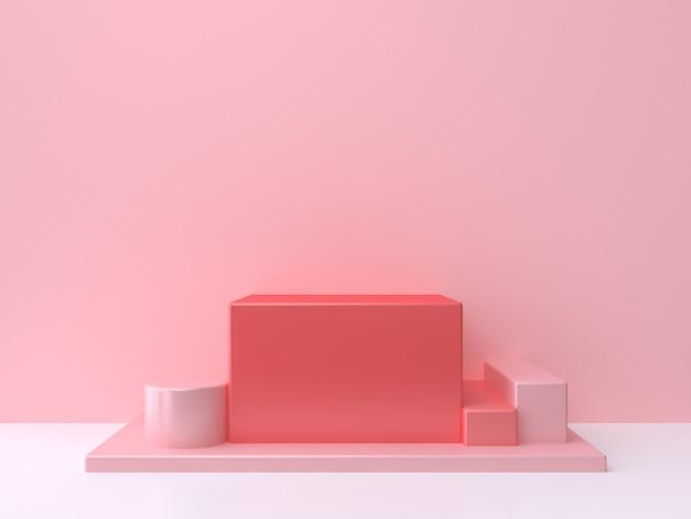 Czerwony Kwadrat Kostki Podium Różowe ściany Białe Podłogi Renderowania 3d Minimalne Abstrakcyjne Tło Premium Zdjęcia