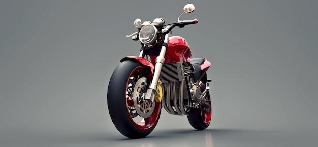 Czerwony Miejski Sport Dwumiejscowy Motocykl Na Szaro. 3d Ilustracji. Premium Zdjęcia