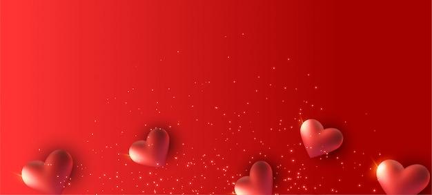 Czerwony Sztandar Z 3d Serca Premium Zdjęcia