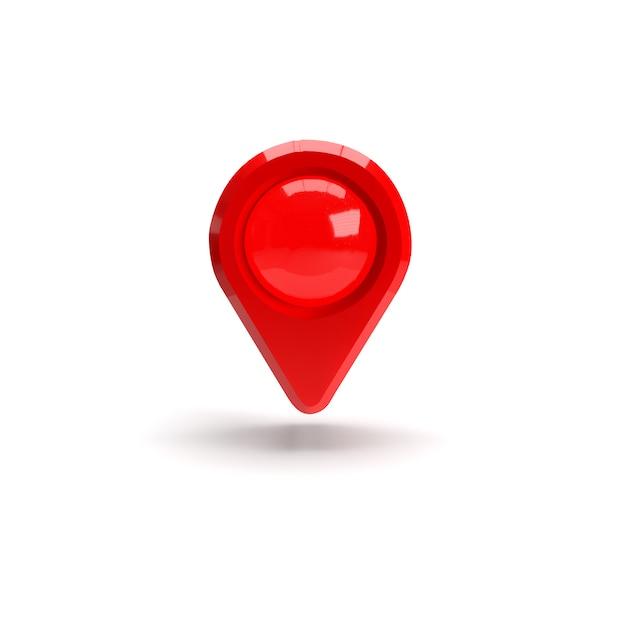 Czerwony Wskaźnik Gps. Czerwony Wskaźnik Mapy. Odosobniony. Renderowanie Trójwymiarowe. 3d Odpłacają Się Ilustrację. Premium Zdjęcia