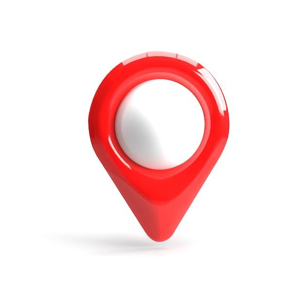 Czerwony Wskaźnik Gps. Czerwony Wskaźnik Mapy. Odosobniony. Renderowanie Trójwymiarowe. Renderowania 3d. Premium Zdjęcia