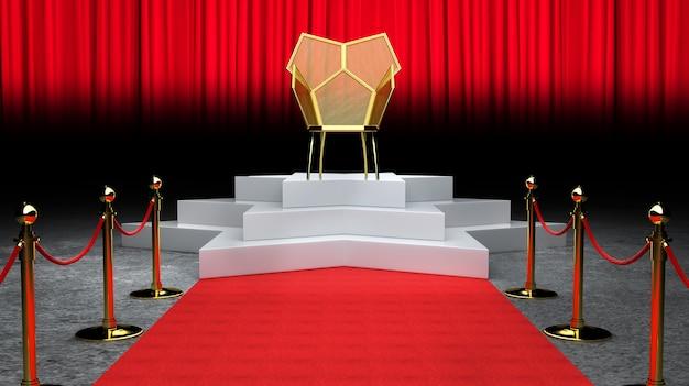 Czerwony Wydarzenie Dywan, Schodek I Złoto Arkany Bariery Pojęcie I Królewiątko Krzesła Tronowy 3d Rendering ,. Premium Zdjęcia