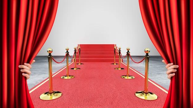 Czerwony Wydarzenie Dywan, Schodek I Złoto Arkany Bariery Pojęcie Sukces I Triumph, 3d Rendering Premium Zdjęcia