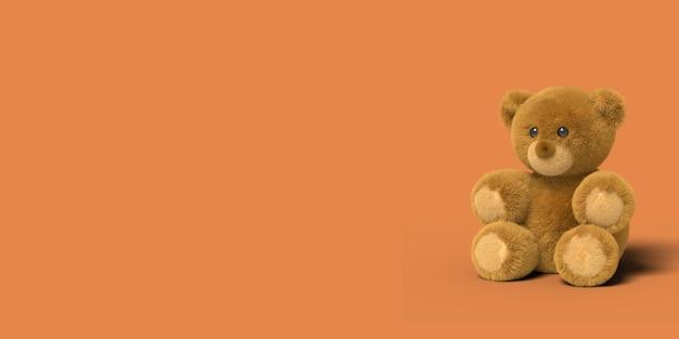 Czerwony Zabawka Niedźwiedź Siedzi Na Podłodze Na Czerwonym Tle Premium Zdjęcia