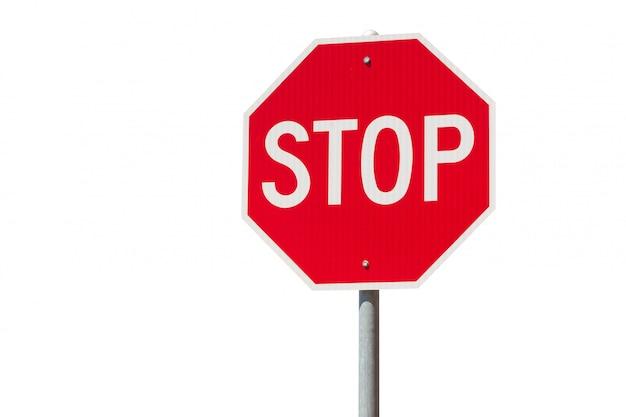 Czerwony Znak Stopu Samodzielnie Na Białym Tle Premium Zdjęcia