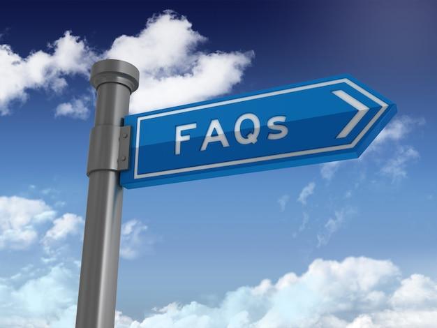 Często Zadawane Pytania Dotyczące Znaków Kierunkowych - Tło Błękitnego Nieba I Chmur Premium Zdjęcia