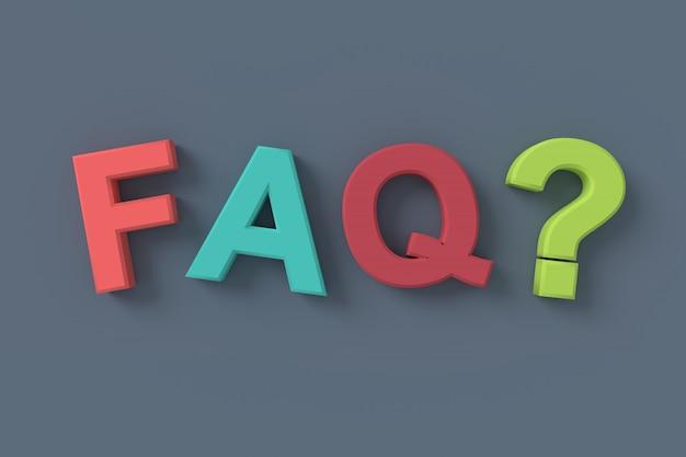 Często zadawane pytania (faq). renderowanie 3d. Premium Zdjęcia