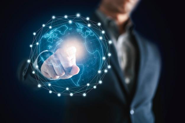 Człowiek Biznesu I Technologia Sieciowa Premium Zdjęcia