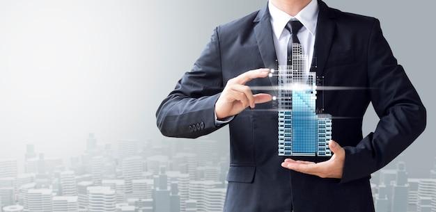 Człowiek Biznesu Stworzyć Nowoczesny Budynek Premium Zdjęcia