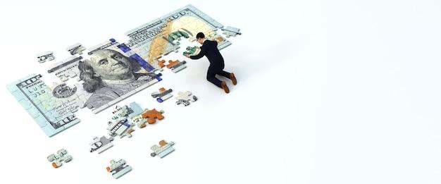 Człowiek, Umieszczając Razem Kawałek Układanki Dolara. Koncepcja Biznesowa, Renderowanie 3d Premium Zdjęcia