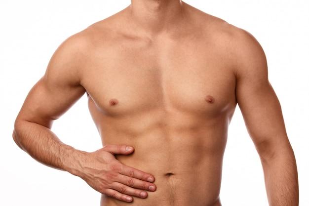 Człowiek Z Bólem W żołądku Premium Zdjęcia