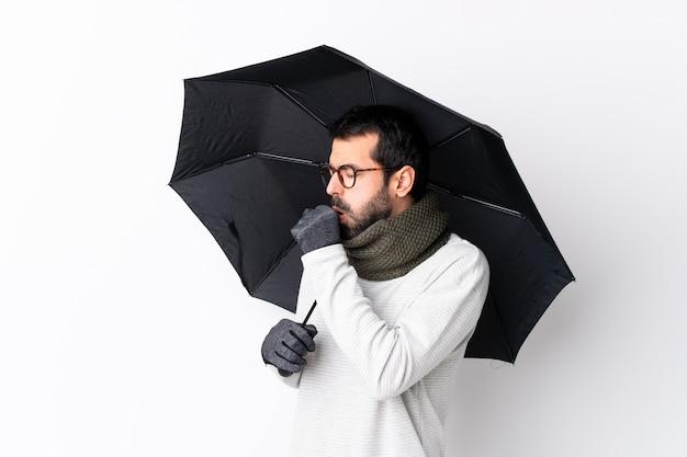 Człowiek Z Parasolem Premium Zdjęcia