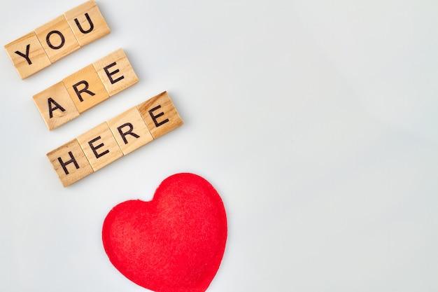 Czułe Słowa Miłości. Czerwone Serce Reprezentuje Uczucia. Alfabet Bloków Z Literami Na Białym Tle. Premium Zdjęcia