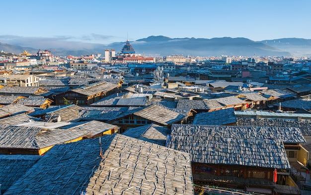 Dachu Widok Shangrila Stary Grodzki Yunnan Chiny Premium Zdjęcia