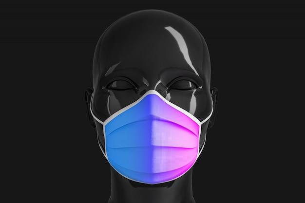 Damska Błyszcząca, Modna Czarna Głowa W Medycznej Masce Do Zapobiegania Koronawirusom Premium Zdjęcia