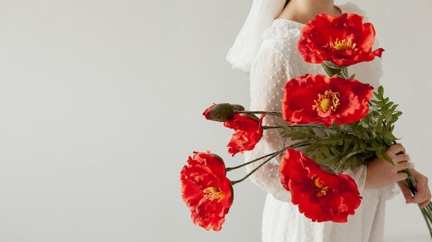 Damy Mienia Kwiatów Czerwonych Kopii Przestrzeń Darmowe Zdjęcia