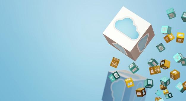 Dane Renderowania W Chmurze Dla Treści Technologicznych. Premium Zdjęcia