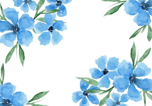 Delikatne Akwarele Niebieskie Tło Kwiatowy Z Malowaniem Kwiatów Stokrotki Maków Premium Zdjęcia