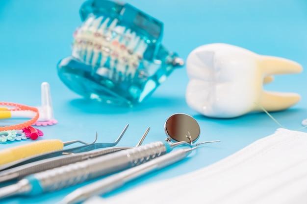 Demonstracyjny model zębów odmian ortodontycznych lub klamrowych Premium Zdjęcia