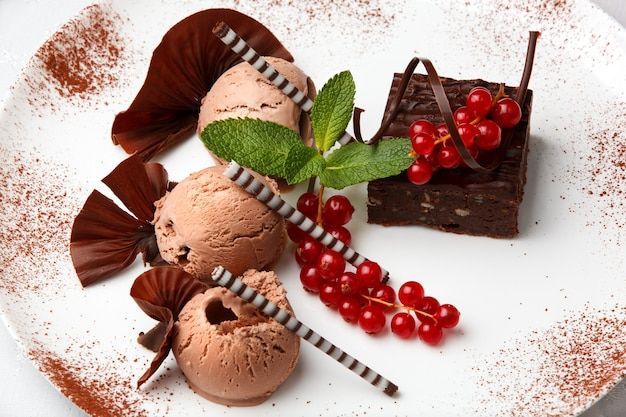 Deser restauracyjny z lodami czekoladowymi, ciastem i czerwoną porzeczką ozdobiony kawałkami czekolady Premium Zdjęcia