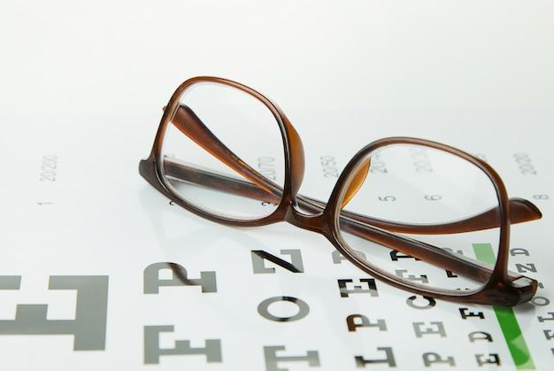 Diagram Sprawdzania Szkieł Ocznych Optometrii Tle Medycznym. Premium Zdjęcia