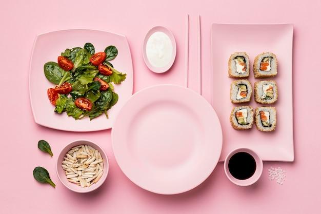 Dieta Flexitarian Z Sushi Powyżej Widoku Darmowe Zdjęcia