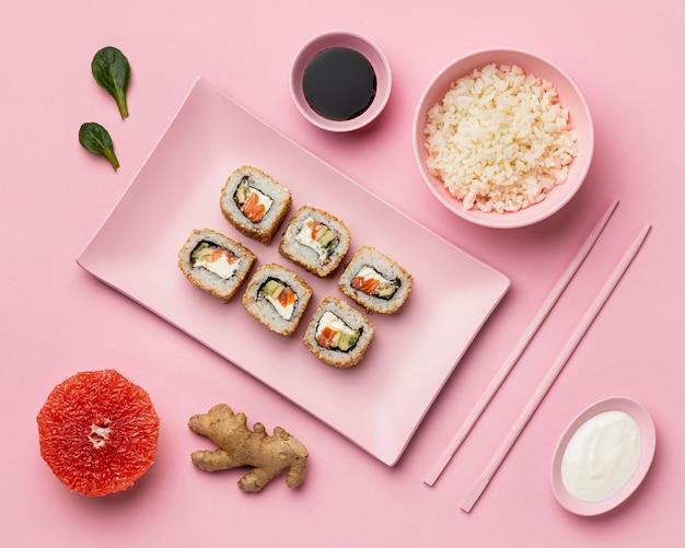 Dieta Flexitarian Z Widokiem Z Góry Sushi Darmowe Zdjęcia