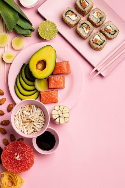 Dieta Flexitarian Z Widokiem Z Góry Z Sushi Darmowe Zdjęcia